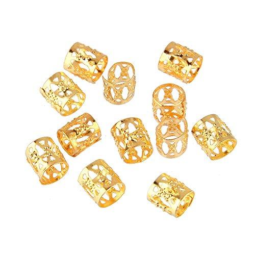 Beauty7-12 PCS vergoldet Microring Perlen Zöpfe Flechten Haarschmuck Haar Braid Dread Dreadlock-Perlen verstellbar Cuff Clip 8mm Clip Metall Tube Lock Farbe:Golden