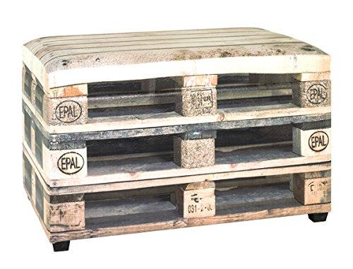 Haku Möbel - Baúl con tapa acolchada, diseño vintage, 40 x 65 x 42 cm, multicolor (periódico)