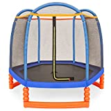 Best Choice Products 7ft Kids Round Mini Trampoline for Indoor & Outdoor Use w/Safety Net Enclosure, Padding, Zipper