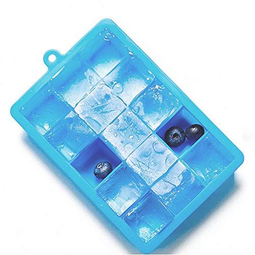 MESEVEN Moldes y bandejas de silicona para hielo, Bandeja de hielo de fácil liberación Haga 15 cubitos de hielo cuadrados, sin BPA, moldes de cubitos de hielo aptos para hielo,...
