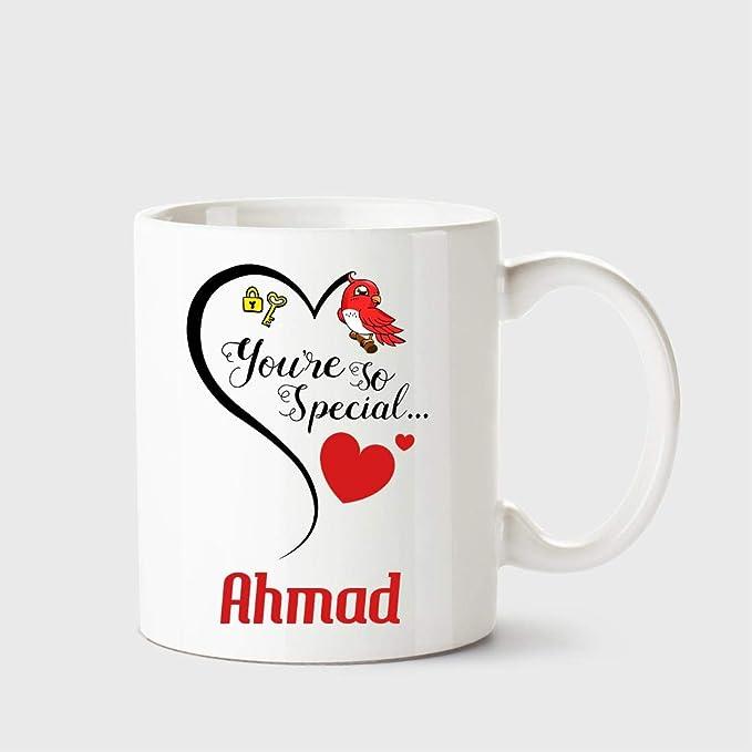 Chanakya You're so Special Ahmad White Coffee Name Ceramic Mug