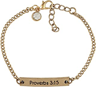 Proverbs 3:15 More Precious Than Jewels Gold Tone Adjustable Charm Bracelet, 7 1/4 Inch