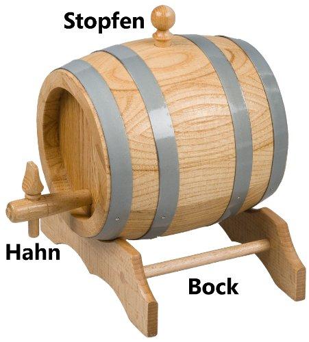 Hofmeister Holzwaren - Barile in legno di rovere non verniciato, 1 l, inclusi tappo, rubinetto e cavalletto