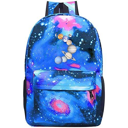 Nine Planets Art Galaxy School Bag Backpack, Student Stylish Unisex Laptop Book Bag Blue