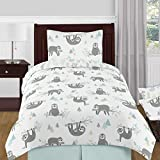 Sweet Jojo Designs Blue and Grey Jungle Sloth Leaf Unisex Boy or Girl Twin Size Kid Childrens Bedding Comforter Set - 4 Pieces - Turquoise, Gray and Green Tropical Botanical Rainforest