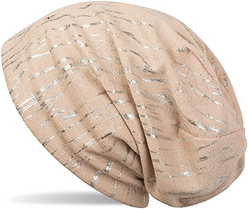 styleBREAKER styleBREAKER Beanie Mütze mit Metallic Streifen, Slouch Longbeanie, Unisex 04024120, Farbe:Beige