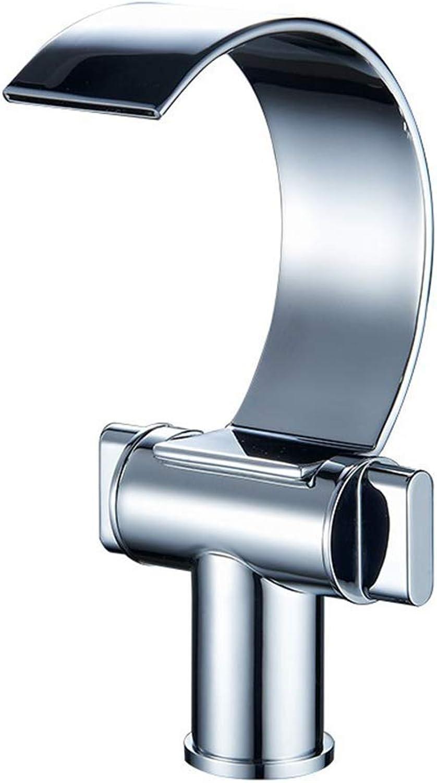 GONGFF Wasserfall-Hahn-Gegenbassin-Glas-Hahn, Badezimmer-Hebel-einzelner Handgriff, moderner Luxusbadezimmerhahn-Eitelkeits-Wannen-Mischbatterie für Badezimmer, Silber