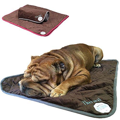 PetLove Thermal Selbstwärmende Decke für Hunde und Katzen Dunkelbraun/Pink M