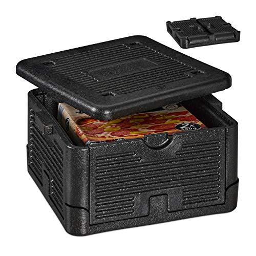 Relaxdays Thermobox für Essen, klappbare Isolierbox, mit Deckel, EPP, 17 L, für Pizza Lieferservice, Einkäufe, schwarz