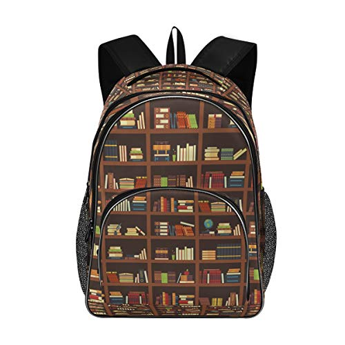 High School Backpack for Women Old Library Bookshelf Best Bookbag Laptop Bag Girls Boys