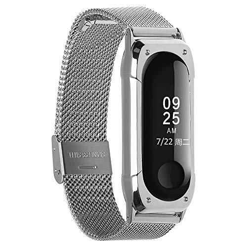 KOMI Correa de reloj de repuesto para Xiaomi Mi Band 4 / Mi Band 3, correa de acero inoxidable de pulsera de metal