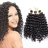 8'(20cm) 3 Pcs Extensiones de Pelo Sintético para Trenzas Africanas Rizado Corto Water Wave Crochet Braiding Hair Extensions Extension Trenzas Postizas (90g,Negro Natural)