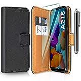 ivencase Funda Compatible con Samsung Galaxy A21s y Protector de Pantalla y Pen, Libro Caso Cubierta la Tapa magnética Protector de Billetera Cuero de la PU Carcasa - Negro