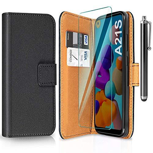 ivencase Funda para Samsung Galaxy A21s + Protector de Pantalla + Pen, Libro Caso Cubierta la Tapa magnética Protector de Billetera Cuero de la PU Carcasa para Samsung Galaxy A21s - Negro