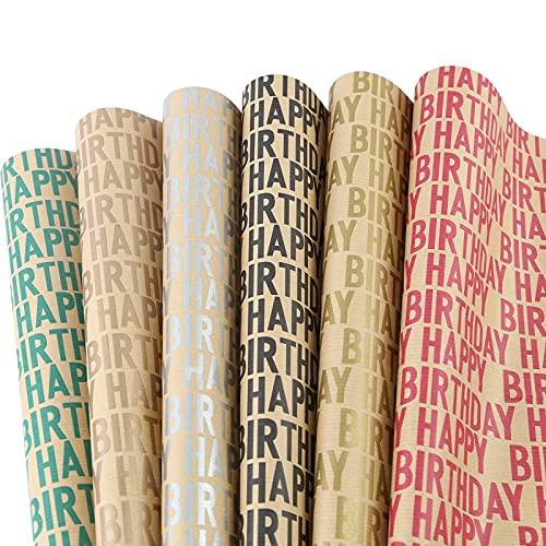 Lausatek Geburtstag Kraft Geschenkpapier, 6 Blätter Braun Recyceltes Geschenkpapier Gefaltetes Papier Happy Birthday Brief Design Für Geburtstage 50x70cm