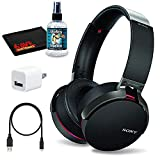 Sony XB950B1 Extra BASS Bluetooth Headphones with App Control (Black) with 6Ave Headphone Cleaning Kit and USB Wall Adapter