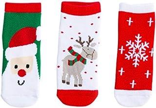 QISANFNDSGJ, QISANFNDSGJ 6 pares de calcetines de algodón para invierno y otoño para bebés y niños, de rizo con copos de nieve, alce de Papá Noel, oso de Navidad, regalo útil, de 0 a 1 años