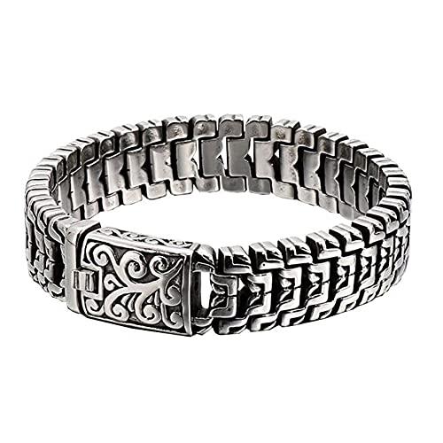 WTZWY Pulsera de Malla Plana de Estilo Antiguo Presencia de Un Hombre Seguro, Moda de Acero Inoxidable Joyería Gruesa y Robusta,Arabesque Bracelet