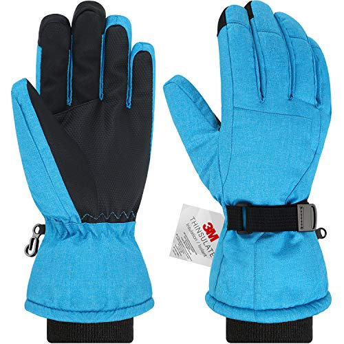 Andake Women's Waterproof Touch Screen Ski Snowboard Snow Gloves, Breathable Warm Windproof with 3M Thinsulate Insulation