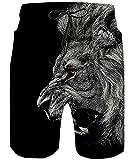TUONROAD Costume Uomo Mare 3D Leone Costumi da Bagno Asciugatura Rapida Bermuda Pantaloncino Calzoncini Elasticizzato Hawaiano Surf Estivi Casual Short M