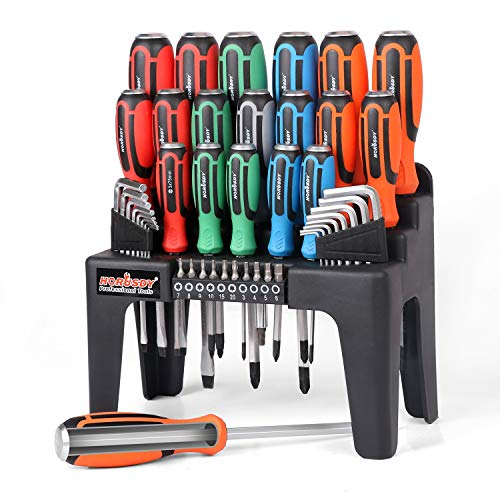 HORUSDY 44-Piece Magnetic Screwdriver Set with Go-Thru Steel...