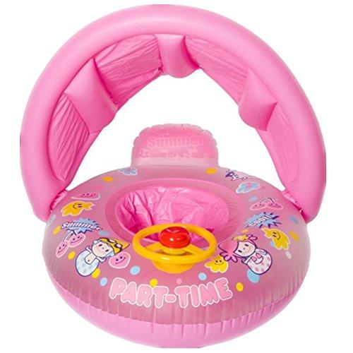 Salvagente gonfiabile a ciambella con seggiolino per bambino, con schermatura per protezione solare, sedile con cintura, barca yacht con volante, Bambino, Pink