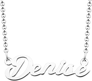 CoolJewelry Initial Name Necklace Semi-Customized Personalized Nameplate Pendant Sterling Silver Birthday Gift