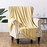 Fredsure Acrylic Solid Throw Blanket for Sofa Couch, Light Weight Decorative Warp Knit Throw with Soft Hand, 50'x60' Yellow