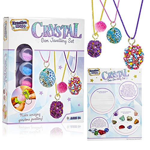 KreativeKraft Jewellery Making Kit, Arts and Crafts for Kids, Science Kits for Girls Includes Crystal Gemstones, Educational Toys Gifts for Girls Teens Age 6+