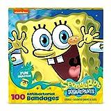 Spongebob Bandages, 100 ct | Adhesive Antibacterial Bandages for Minor Cuts, Scrapes, Burns. Easter Basket Stuffers for Kids & Toddlers
