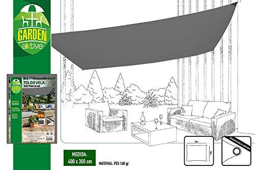 Aktive Toldo Vela para Jardín, Antracita, 3x4x3 cm, 53914
