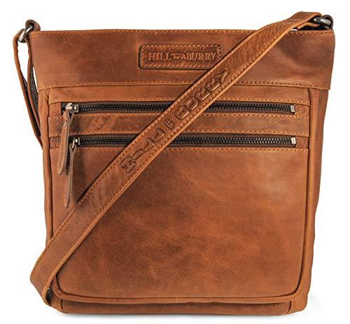 Hill Burry Damen Shopper | aus weichem hochwertigem Rindsleder - Vintage Elegante Abendtasche | Handtasche - Umhängetaschen - Fashion Bag Beutel | Schultertasche - Schulterbeutel (Braun)