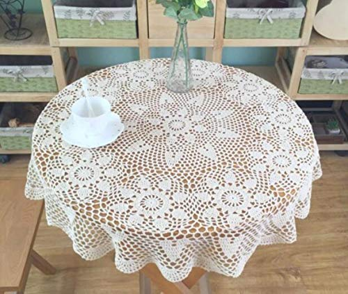 Ksde - Mantel de Crochet Hecho a Mano, Color Blanco y Beige, Blanco, 90 cm