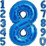 Globo 8° Cumpleaños Número 8 Azul Gigante, Globo XXL 100 cm. Decoración 8° Cumpleaños para Niño. Aire o Helio.