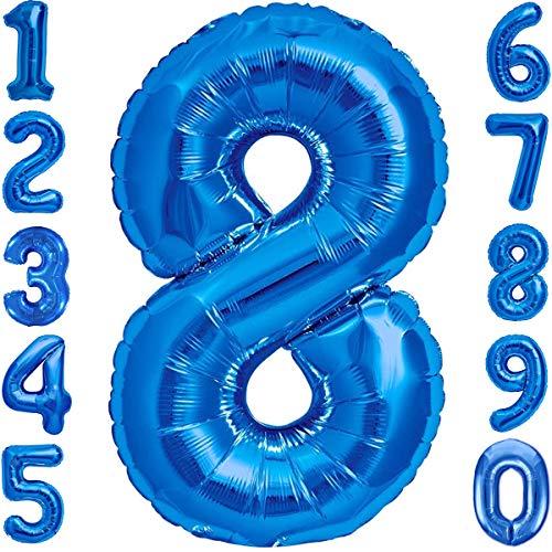 Luftballon 8. Geburtstag Zahl 8 Blau XXL Riesen Folienballon 100cm Geburtstagsdeko Jungen Ballon Zahl Deko zum Geburtstag. Fliegt mit Helium.