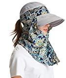 icolor Women Sun Hat Sun Protection Face & Neck Flap Cap Summer Wide Brim Hat for Girl Lady