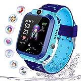 smartwatch impermeabile per ragazzi ragazze, orologio intelligente telefono con lbs locator chat sos vocale camera math game anti-lost bambini bracciale regalo compleanno per ios android (s102 blu)