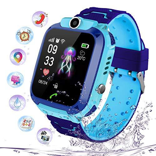 PTHTECHUS Niños Smartwatch Impermeable, Reloj Inteligente Phone con LBS Tracker SOS Chat de Voz Cámara Despertador Juego Cálculo para Regalos Estudiantes Compatible con iOS Android (02-LBS SOS Azul)