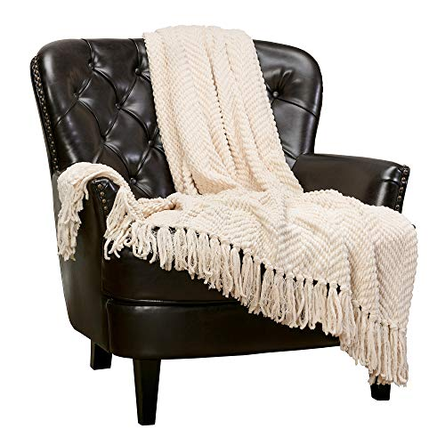 Chanasya Textured Knitted Super Soft Throw Blanket with Tassels Cozy Plush Lightweight Fluffy Woven Blanket for Bed Sofa Couch Cover Living Bed Room Acrylic Throw Blanket (50x65 Inches) WhiteSmoke