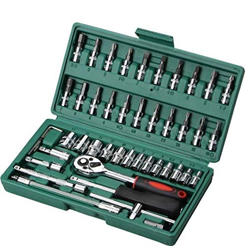 YELLAYBY 46 piezas de herramientas de la manga de coche automática combinados de reparación llave de la herramienta del kit del sistema de reparación de hardware Herramientas (color: verde) Socket lla