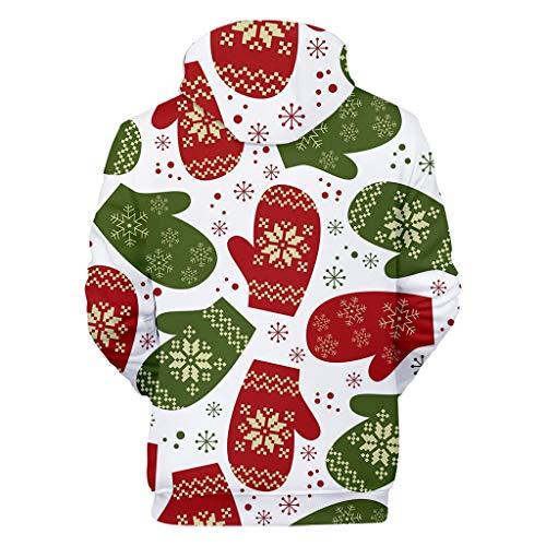 Moent Weihnachtsmode Frauen 3D Christmas Print Party Langarm Kapuzen-Sweatshirt Gr. XXX-Large, weiß
