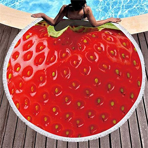 Zuichu Grote ronde strandhanddoek, bedrukt wandtapijt met watermeloen en citroen, lichtgewicht waterdichte en zanddichte deken, voor volwassenen, kinderen, buiten, picknickdeken, yogamat, 150 cm