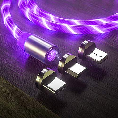 Le tide LED fließende magnetische Ladekabel leuchten Candy Moving Shining Ladegerät Telefon Ladekabel magnetische Streamer Absorption USB Snap Quick Connect 3 in 1 USB-Kabel