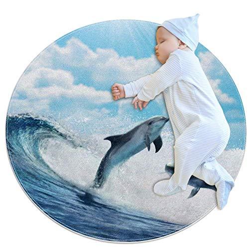 Wave Dolphin Leap Tapis bébé Décor de pièce rond et antidérapant doux pour les tout-petits enfants 100cm
