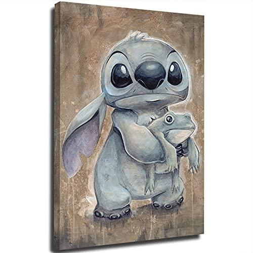 Stitch Ohana Means Family Funny Bathroom Poster Abstracto Personalizado Lienzo Cuadros para Pared para Imprimir Enmarcados 50,8 x 76,2 cm