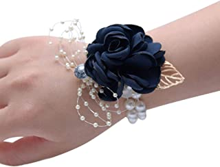 Wrist Corsage, Pack of 2 Wedding Bridal Wrist Flower Corsage Hand Flower Decor for Prom Party Wedding Homecoming (15)