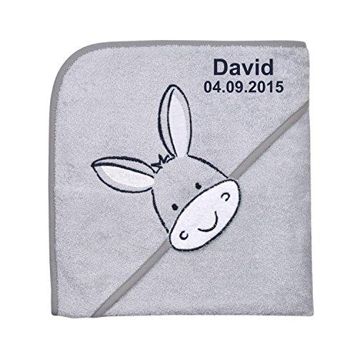 Wolimbo Kapuzenbadetuch mit Ihrem Wunsch-Namen und Tierkopf-Motiv - Format: 100x100cm - Motiv Esel grau - Das individuelle und kuschelig weiche Badehandtuch für Mädchen und Jungs