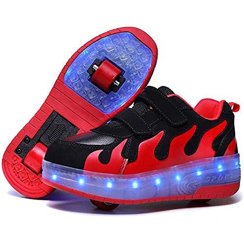 WYYZSS Zapatos LED para Niños Zapatos De Skate Recargables con USB Recargables Gimnasia Al Aire Libre Zapatillas De Deporte De Moda Patines para Niños Niñas,35