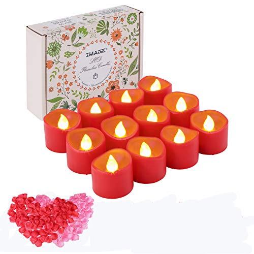 LED Tea Lights 12PCS Red Candles with Timer Battery Operated Tealight Flickering Candle Lights with Rose Petals, Amber Yellow