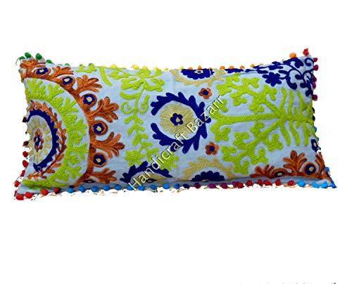 Handicraft Bazarr - Juego de 2 Fundas de cojín rectangulares Indias Suzani de 12 x 24 Pulgadas Bordadas de algodón para Almohada Decorativa Cuadrada